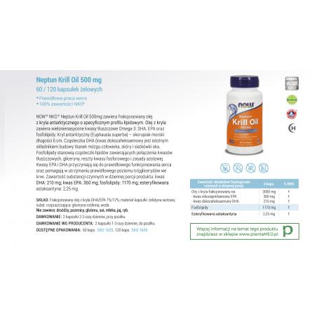 Olej z Kryla 500 mg - Neptun Krill Oil DHA EPA (60 kaps.) NOW Foods