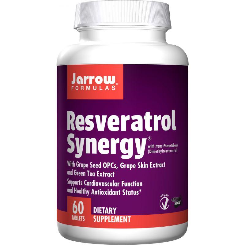 Resveratrol Synergy - Resveratrol + Zielona Herbata + ekstrakt z Winogron + Trans-Pterostilben (60 tabl.) Jarrow Formulas