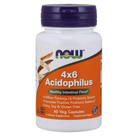 4x6 Acidophilus - Probiotyk 4 Billion Acidophilus (60 kaps.) NOW Foods