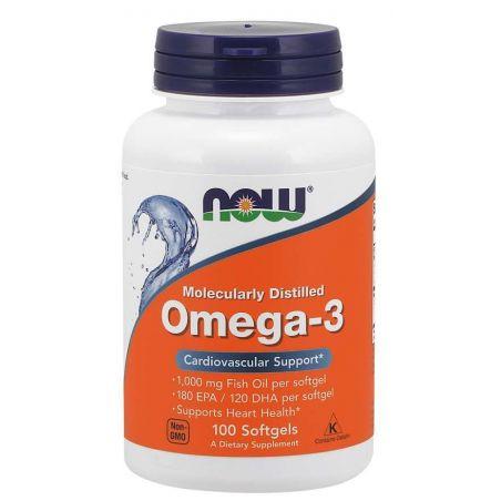 Omega 3 - DHA 120 mg + EPA 180 mg (100 kaps.) NOW Foods