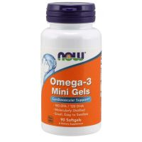 Omega 3 Mini Gels - DHA 120 mg + EPA 180 mg (90 kaps.) NOW Foods