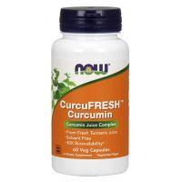 CurcuFRESH Curcumin - Sproszkowany sok z Kłącza Kurkumy (60 kaps.) NOW Foods