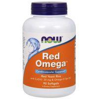 Red Omega - Czerwony Ryż Drożdżowy + Omega 3 + Koenzym Q10 (90 kaps.) NOW Foods