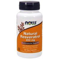 Natural Resveratrol 200 mg - Ekstrakt z Rdestowca Ostrokończystego + Ekstrakt z Czerwonego Wina (60 kaps.) NOW Foods