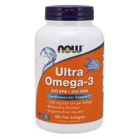 Ultra Omega-3 (Fish Gelatin) - EPA Kwas eikozapentaenowy 500 mg + DHA Kwas dokozaheksaenowy 250 mg (180 kaps.) NOW Foods