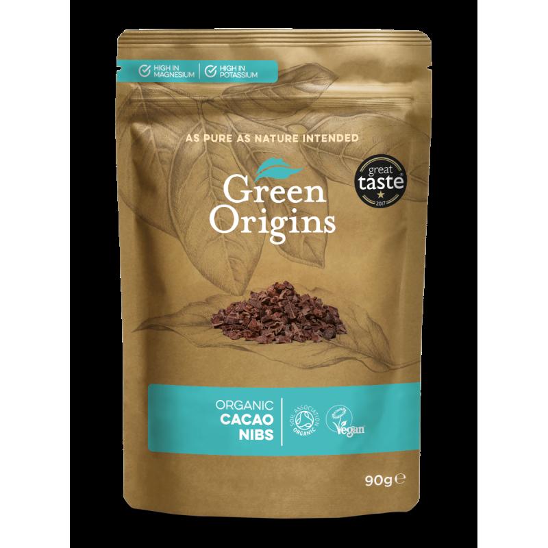 Organic Cacao Nibs - Organiczne kruszone ziarno kakaowca (90 g) Green Origins