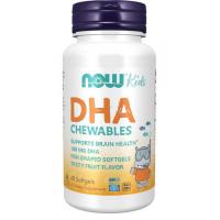Kids Chewable DHA dla dzieci do żucia 100 mg (60 kaps.) Now Foods
