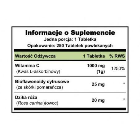 Witamina C z Bioflawonoidami i Dziką Różą 1000 mg (250 tabl.) Puritan's Pride