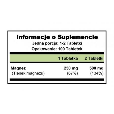 Magnez 250 mg (100 tabl.) Puritan's Pride