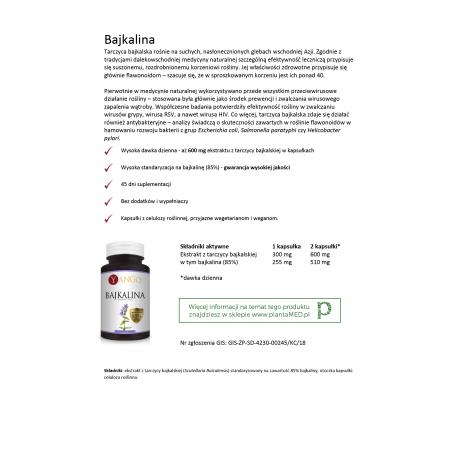 Karta produktu: Tarczyca Bajkalska standaryzowana - 85% Bajkaliny (90 kaps.) Yango