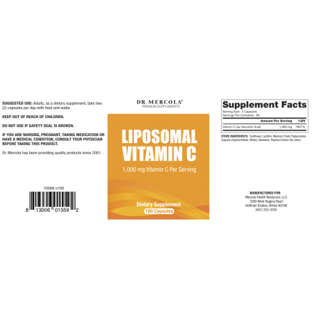Witamina C w liposomach 500 mg (180 kaps.) Dr Mercola - etykieta