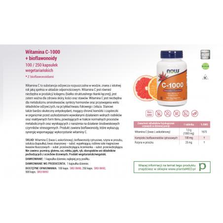 Witamina C 1000 mg z bioflawonoidami (100 kaps.) NOW Foods