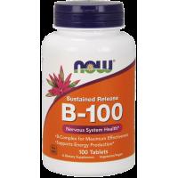 Witamina B-100 - Kompleks Witamin B o przedłużonym uwalnianiu (100 tabl.) NOW Foods