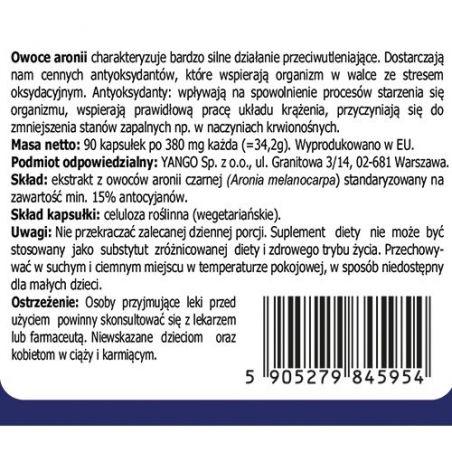 Aronia - ekstrakt 15% antocyjanów 380 mg (90 kaps.) Yango