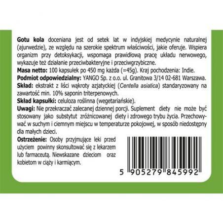 Gotu Kola - ekstrakt 10% saponin triterpenowych 450 mg (100 kaps.) Yango