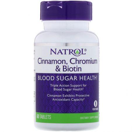 Cinnamon, Chromium & Biotin - Cynamon, Chrom i Biotyna (60 tabl.) Natrol